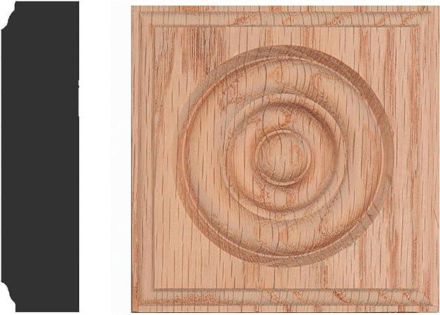 Carved Fleur de Lis Rosette Blocks Set of 4 2.5x2.5 RED Oak Made in USA