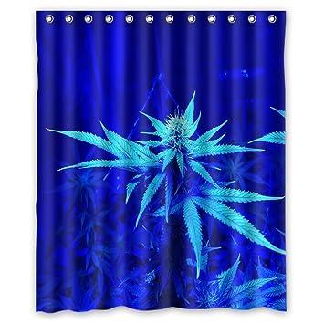 Unique Marijuana Weed Leaf Design Waterproof Polyester Fabric Bathroom Custom Shower Curtain 60 Inch X 72