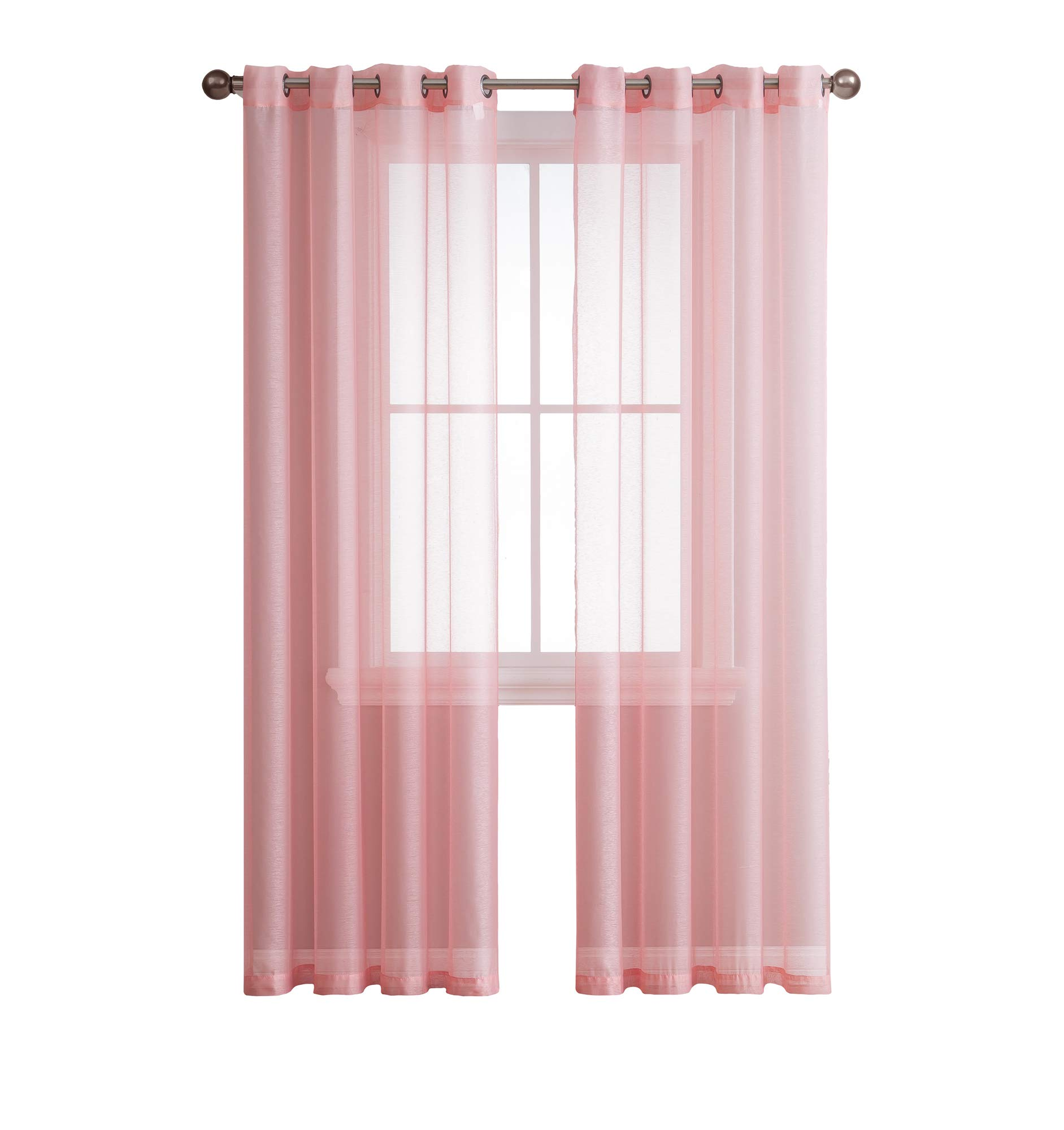 Jane - Rod Pocket Semi-Sheer Curtains - 2 Pieces - Total Size 108'' W x 72'' L - Natural Light Flow Material Durable - for Bedroom - Living Room - Kid's Room and Kitchen (Rose)