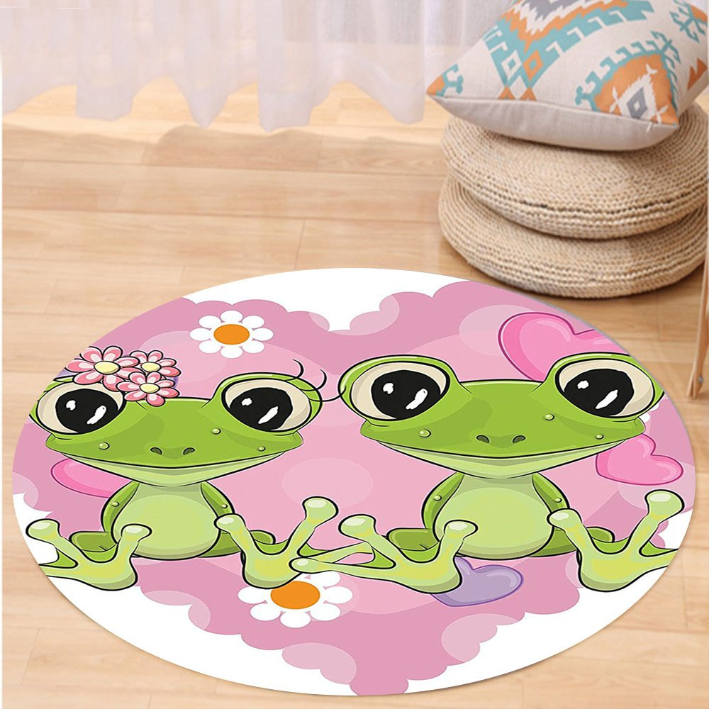 VROSELV Custom carpetLove Decor Collection Two Cartoon Frogs On A Background Of Heart In Love Happiness Flowers Bedroom Living Room Dorm Round 72 inches by VROSELV (Image #1)