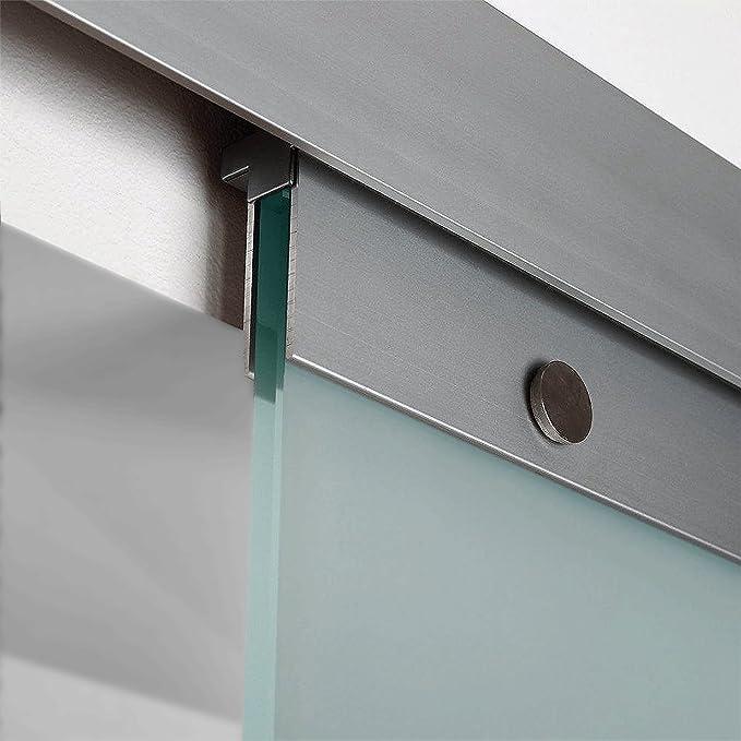 beidseitigem Softclose inova Glas-Schiebet/ür 880 x 2035 mm Kreis Design Alu Komplettset mit Lauf-Schiene und Griffknopf inkl
