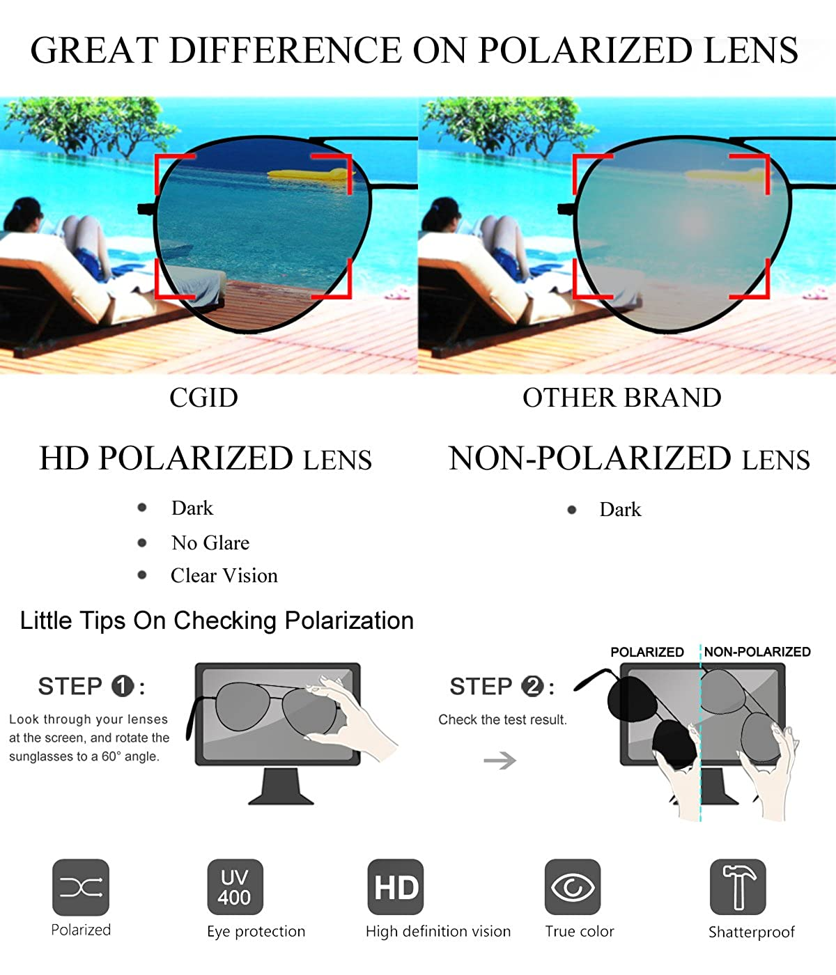 e992df5ae3b Amazon.com  CGID Sunglasses Polarized for Men and Women Pilot Sun Glasses  Polaroid Shades Shield UV400 Protection Dark Glasses 100% UV 400 Goggles  for ...