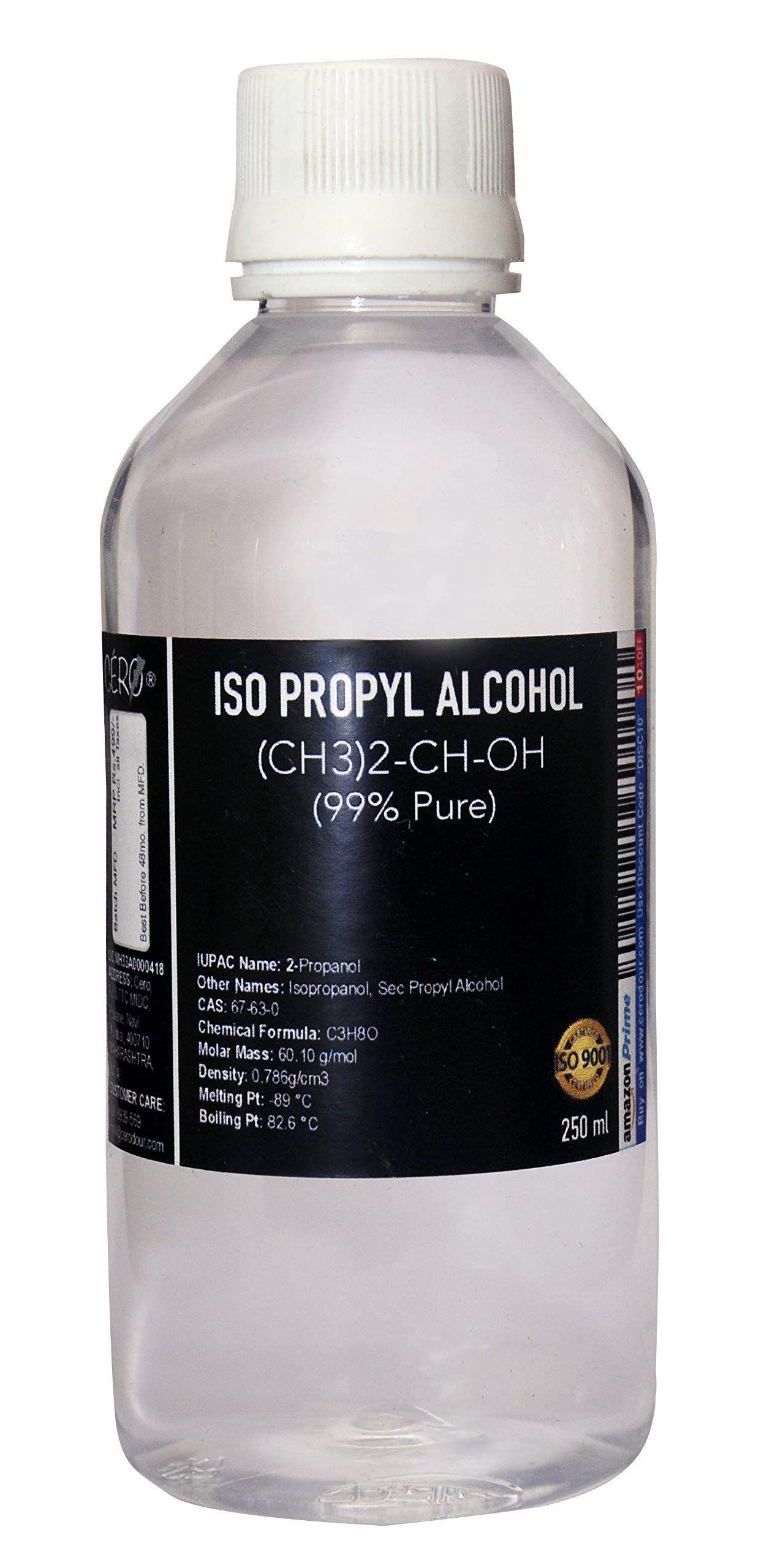 Cero Iso Propyl Alcohol 99 Percent Pure [(Ch3)2-Ch-Oh] Cas: 67-63-0 (250ml) by CERO