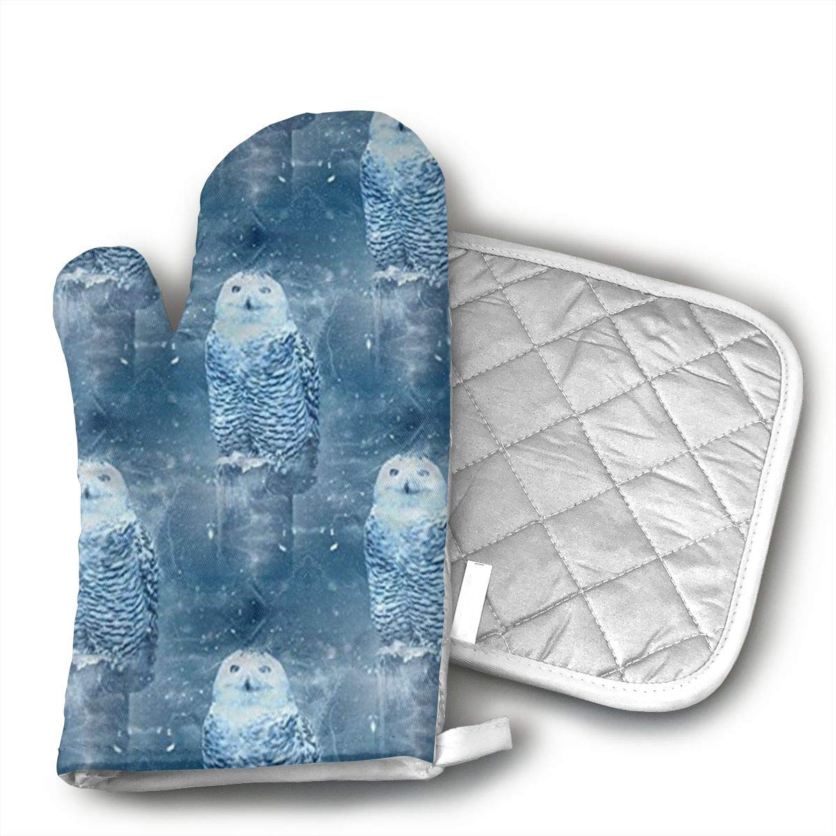 Jiqnajn6 Snowy Owl in Winter Oven Mitts,Heat Resistant Oven Gloves, Safe Cooking Baking, Grilling, Barbecue, Machine Washable,Pot Holders.
