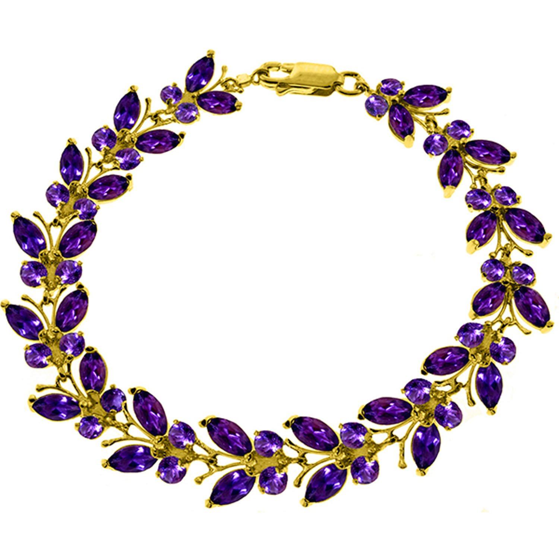 16.5 CTW 14K Solid Gold Butterfly Bracelet Amethyst