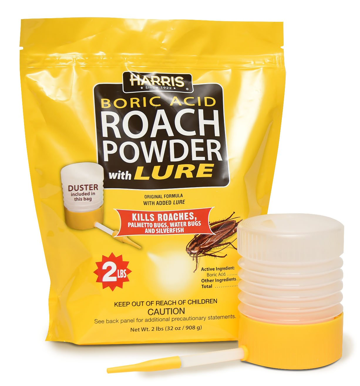 Harris Boric Acid Roach and Silverfish Killer Powder w/Lure, Powder Duster Included in The Bag (32oz)