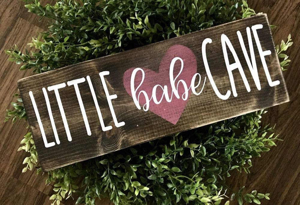 PotteLove Little Babe cave Nursery Sign, Nursery Decor, Woodland Signs, Woodland Nursery