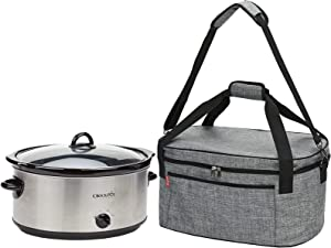 NICOGENA Lightweight Slow Cooker Carrying Bag With Easy to Clean Lining and Large Pocket for Accessories, Compatible with Crock Pot 6-8 Quart, Gray