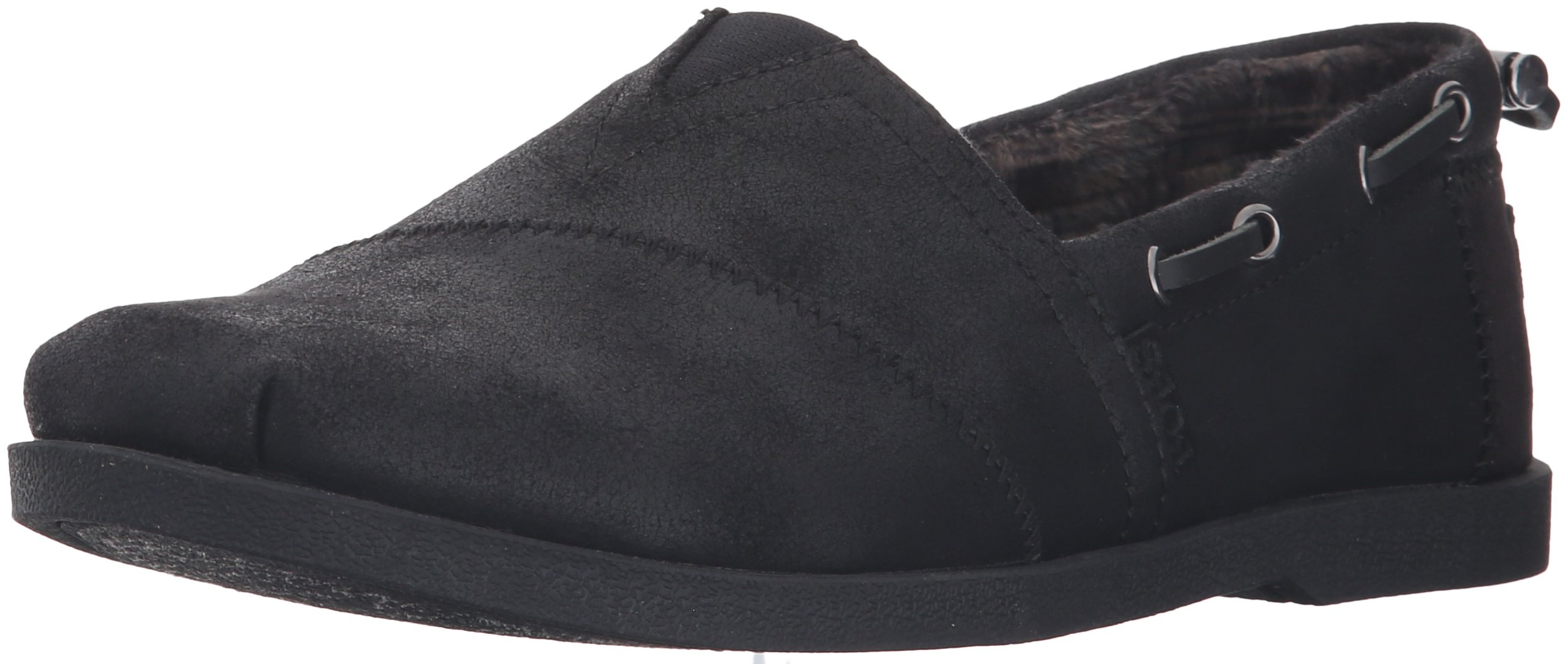 Skechers BOBS from Women's Chill Luxe - Buttoned up Flat, Black/Black, 8.5 W US
