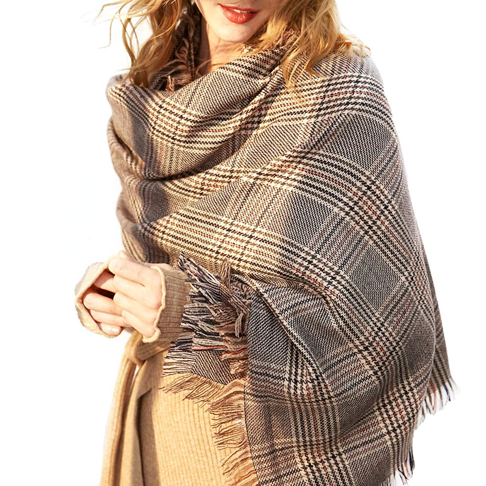 Women's Fashion Plaid Blanket Winter Scarf,Oversized Shawl Cape (Grey)