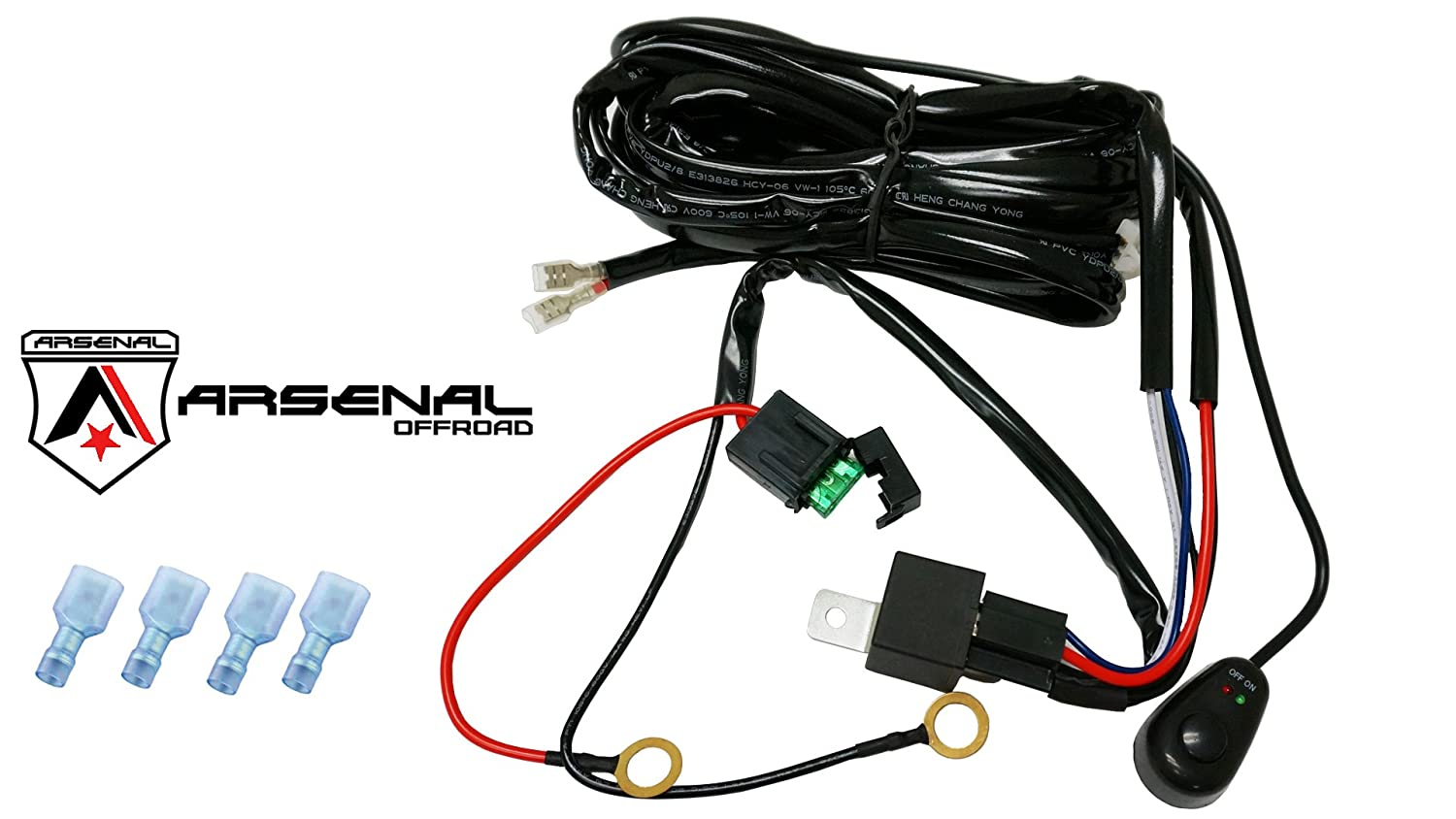 717KJzfkLyL._SL1500_ amazon com 1 arsenal offroad led light bar universal wiring led light wiring harness at readyjetset.co