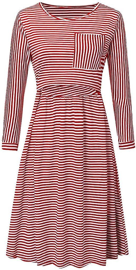 Frauen Rundhals Gedruckt Freizeitkleid Umstandskleidung Casual Pullover chwangerschaft Pflege-Kleid Schlafanzug Ucoolcc Damen Schwanger Lang Kleider Mode Streifen Sweatkleid mit Taschen
