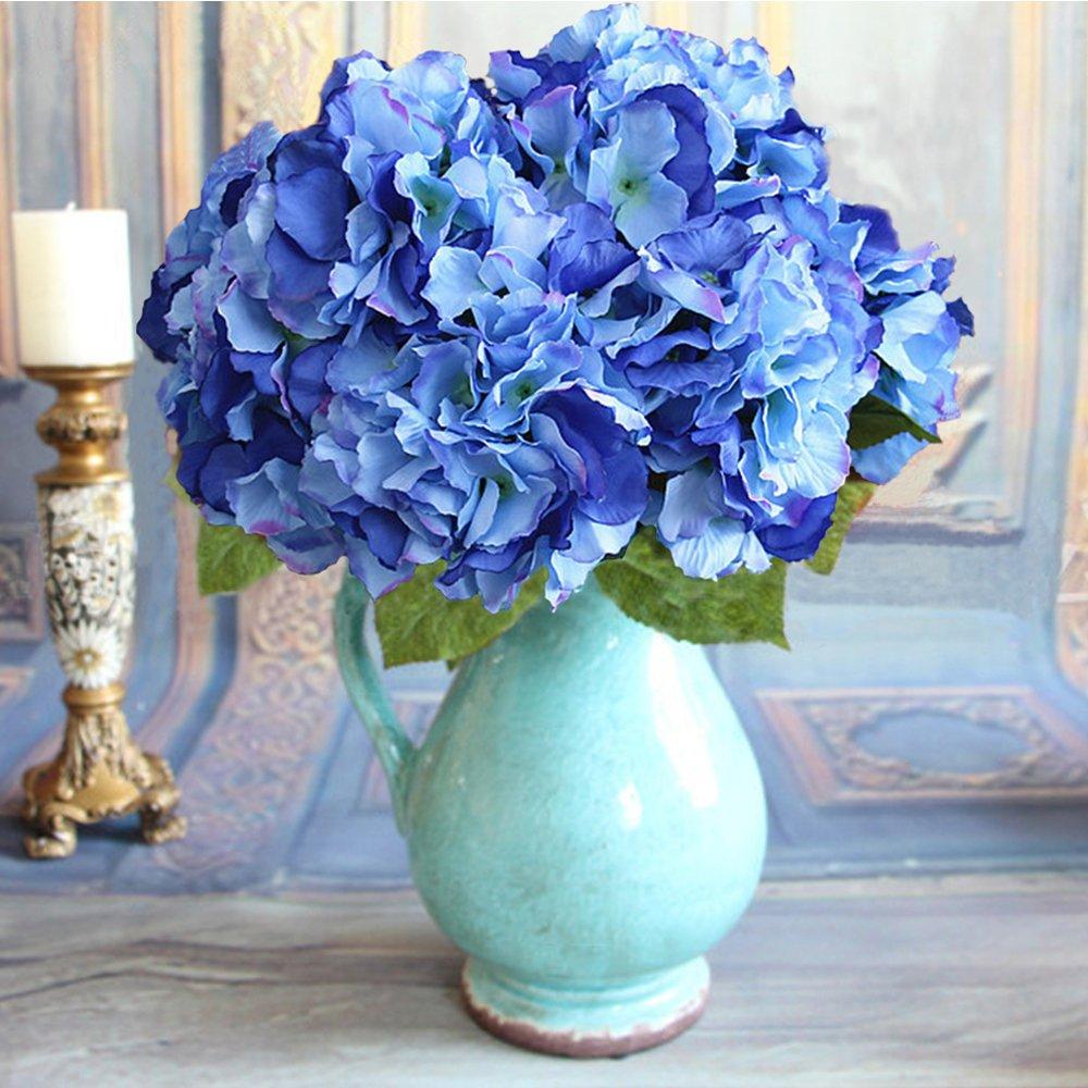 Duosuny Artificial Silk Fake 5 Heads Flower Bunch Bouquet Home Hotel Wedding Party Garden Floral Decor Hydrangea (Blue 1) by Duosuny