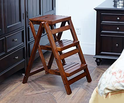 Prime Amazon Com Nydzdm Solid Wood Step Stool Folding 3 Step Gmtry Best Dining Table And Chair Ideas Images Gmtryco