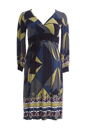 e77a2036c89e3 Olian Maternity Women's Abstract Print Faux Wrap Waist Tie Dress X-Small  Green