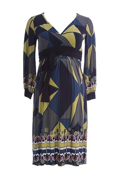 cd694985c5a39 OLIAN Maternity Women's Abstract Print Faux Wrap Waist Tie Dress X-Small  Green