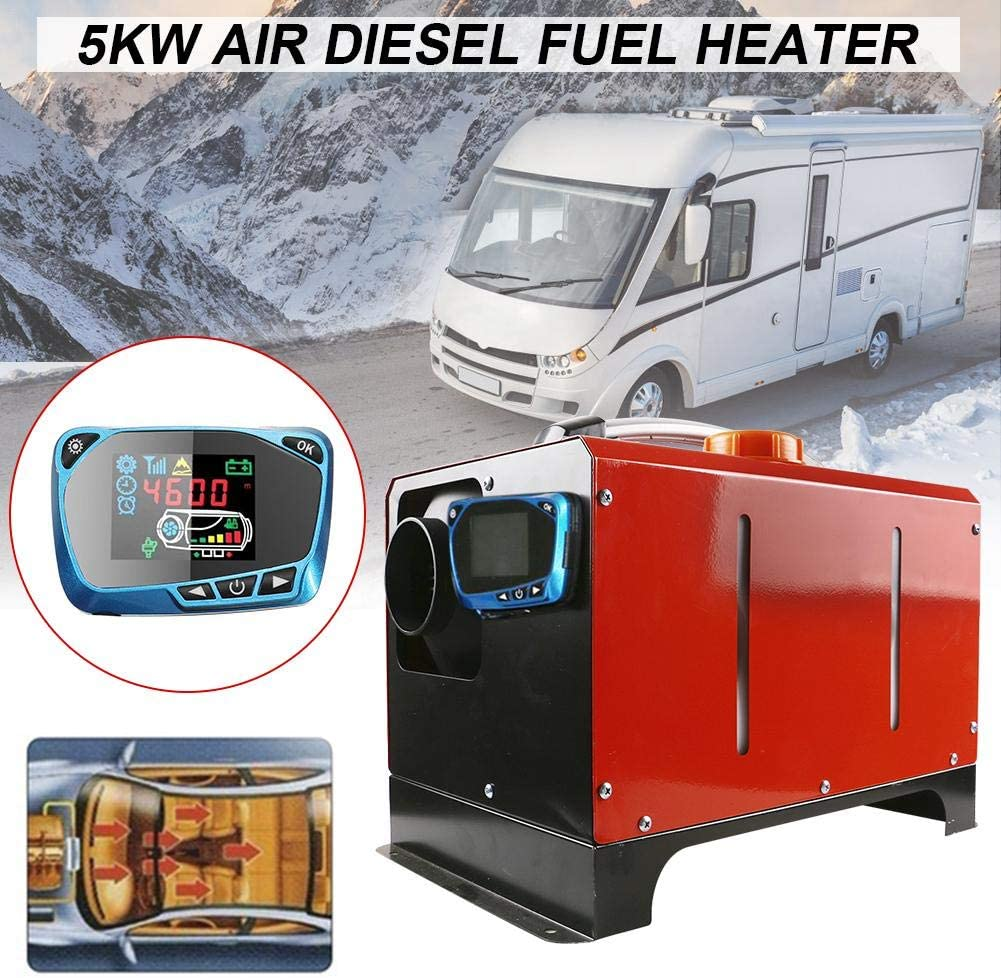 5KW 12V//24V Diesel Air Heater Parking Fuel Air Heater,All in One Integration Single Hole Air Diesels Parking Heater LCD Screen Switch Car Heater with Remote Control 37X25X30cm