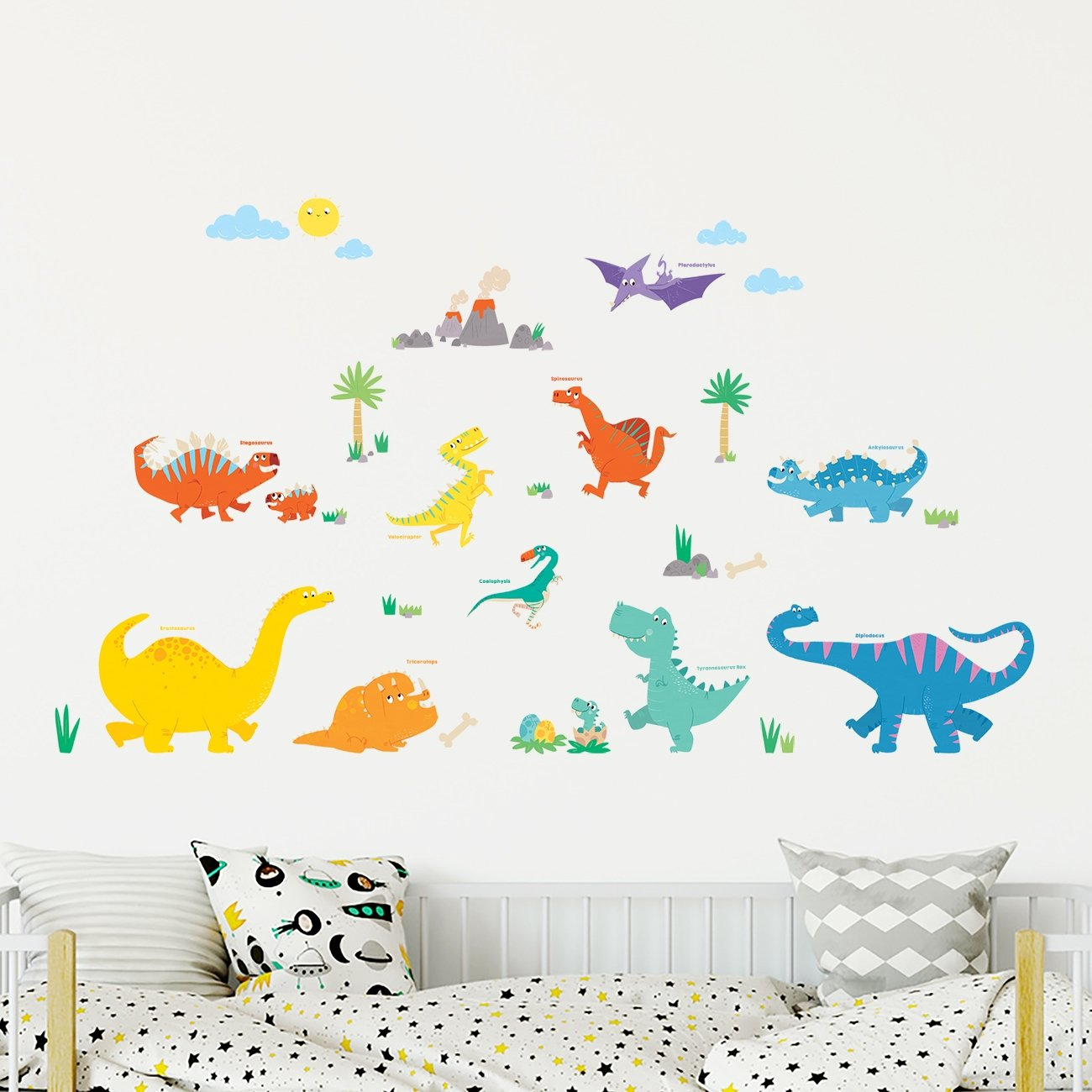 Decowall DS-8019 Dinosaurs Kids Wall Stickers Wall Decals Peel and Stick Removable Wall Stickers for Kids Nursery Bedroom Living Room Small