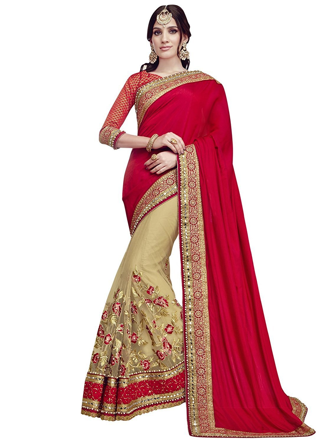 Magneitta Women's Ethnic Wedding And Party Wear Heavy Hand Work Bridal Wear Free Size Red