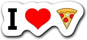 I Love Pizza Food (2 Pack) Vinyl Decal Sticker - Car Truck Van SUV Window Wall Cup Laptop - Two 5 Inch Decal - MKS1414