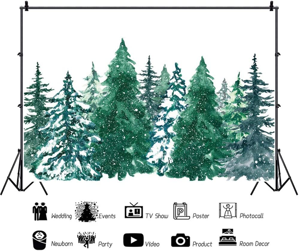 Leowefowa Winter Snowy Pine Forest Watercolor Painting Backdrop for Photography 10x8ft Vinyl Christmas Background Child Adult Photo Shoot Wintery Party Banner Scenic Wallpaper Selfie Booth