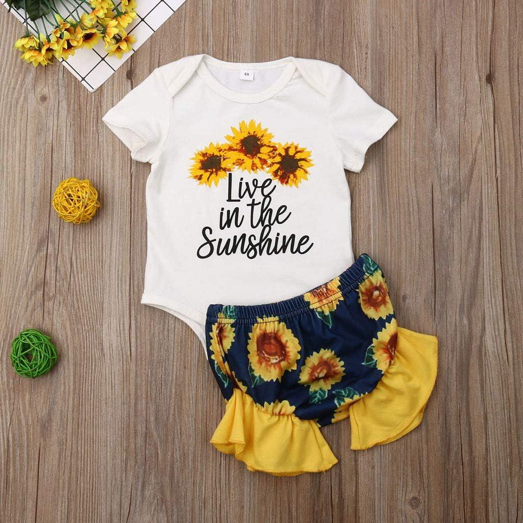 Little Girl Princess Sets,Jchen Baby Kids Little Girl Letter Sunflower Print Romper Shorts Casual Outfits for 0-24 Months