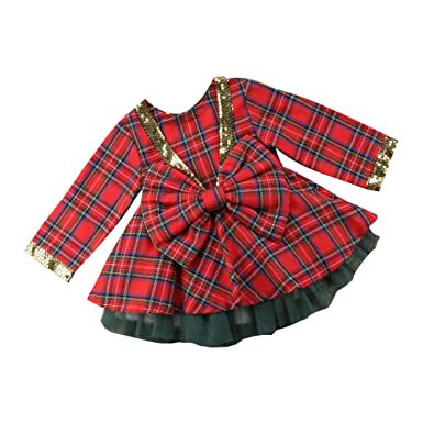 Brightup Red Plaid Dress Kids Baby Girl Red and Black Plaid Print Dress Outfits Clothes Christmas Dress