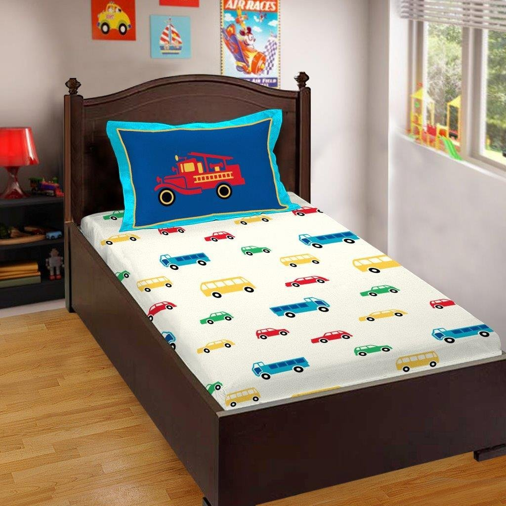 Buy Bombay Dyeing Bd Kids 144 Tc Cotton Single Bedsheet With 2 Pillow Covers Blue Online At Low Prices In India Amazon In