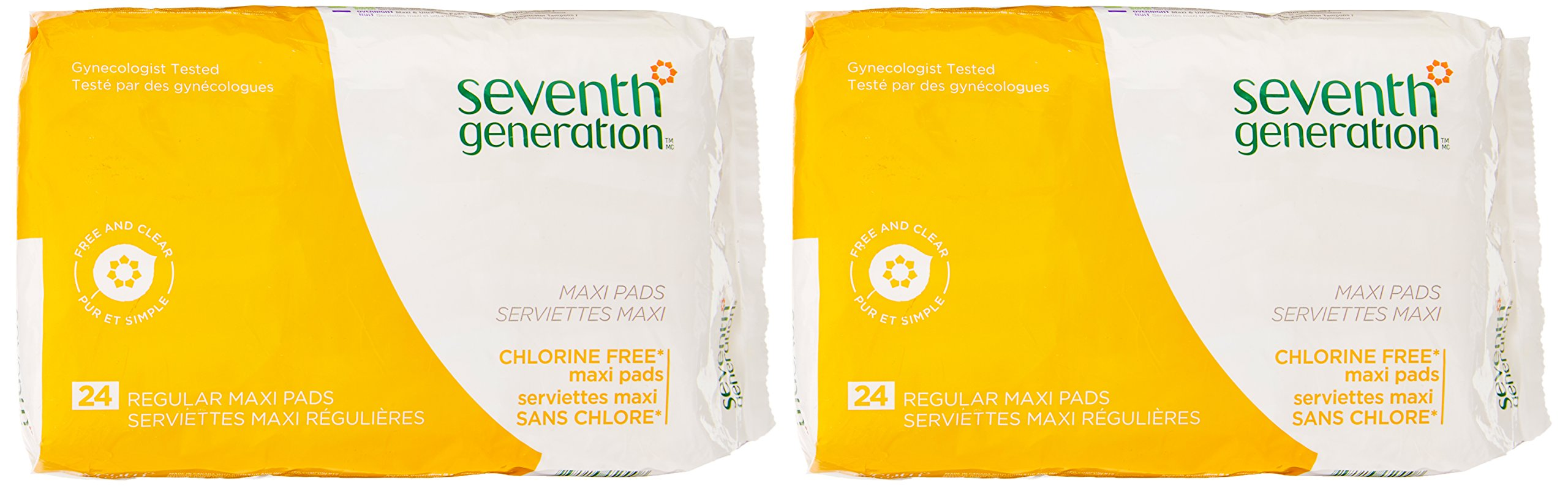 Seventh Generation Free & Clear Maxi Pads 24 Ct (Pack of 2)