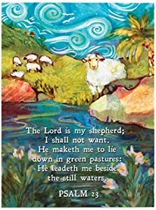 Dicksons Lord is My Shepherd Blue 4 x 3 Inch Wood Magnet