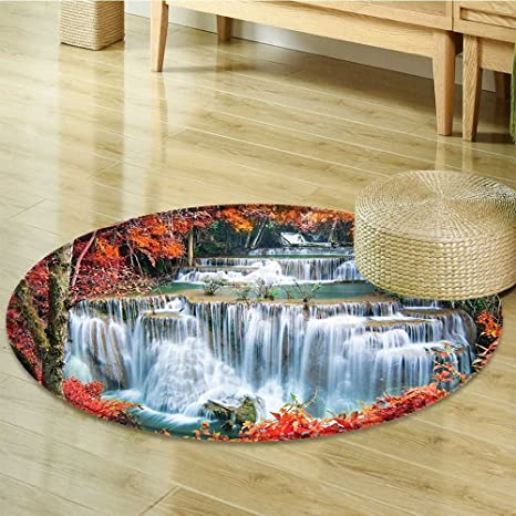 Round Area Rug Carpet Waterfalls Like Stairs In Hidden In The Botanic  Orange Red And White