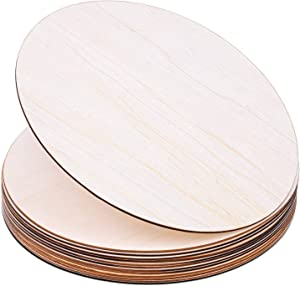 Wood Circles for Crafts, Audab 12 Pack 12 Inch Unfinished Wood Rounds Wooden Cutouts for Crafts, Door Hanger, Door Design, Wood Burning