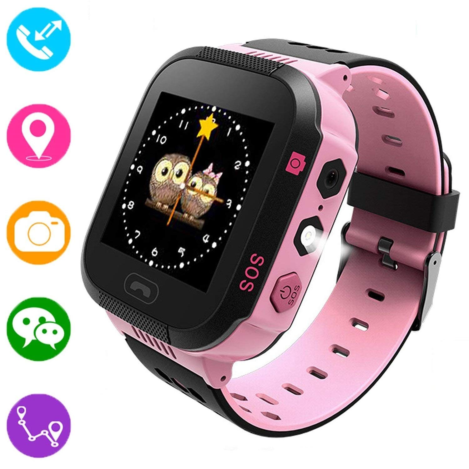 Kids Smart Watch,1.44 inch Touch Screen GPS Tracker for Children Girls Boys Summer Outdoor Birthday with Camera SIM Calls Anti-lost SOS Smartwatch Bracelet for iPhone Android Smartphone (Pink)