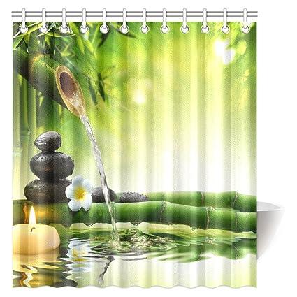 InterestPrint Spa Polyester Fabric Shower Curtain Mildew Resistant Bathroom Zen Garden Theme Decor View For