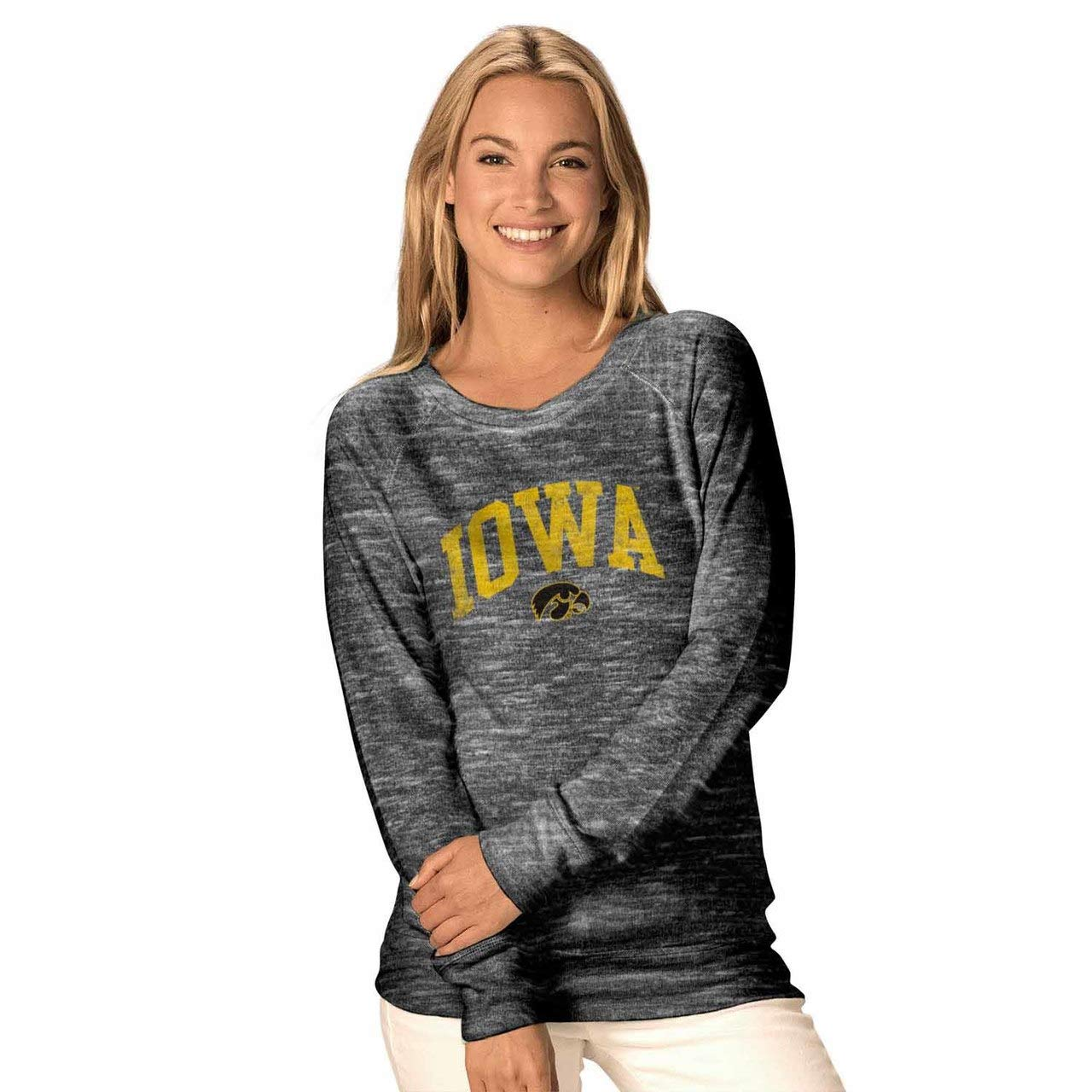 Iowa Hawkeyes  Black Camp David NCAA Womens Ultimate Lightweight Carefree Crewneck  Multiple Teams, Sizes