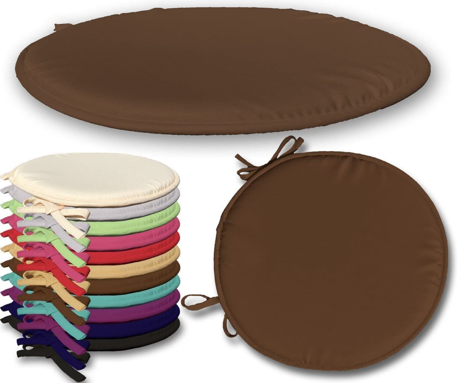 Maria Luxury Bedding /& Linen Chocolate Round Seat Pads Garden Patio Chair Cushion Pads with Tie-On Perfect Pads for Kitchen Dining Patios Chairs in Chocolate Pack of 1 38cm x 38cm x 2cm