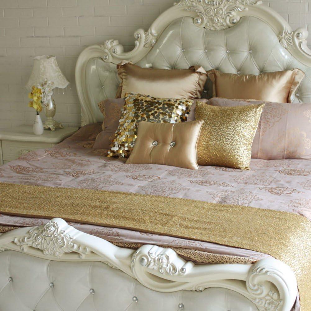 Bandera de la cama del pedazo brillante/toalla de extremo de la cama de aire-dorado 50x240cm(20x94inch)