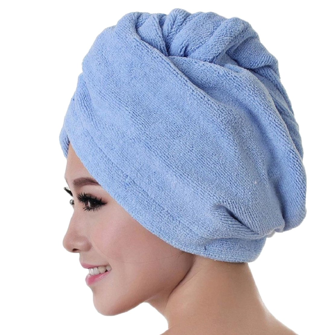 Perman Womens Microfiber Bath Towel Hair Dry Hat Cap Quick Drying Ladies Bath Linen (Blue)