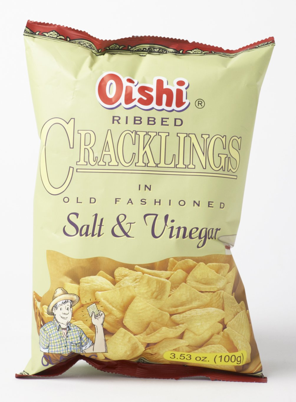 Oishi Ribbed Cracklings Salt and Vinegar 3.53 Oz 100g