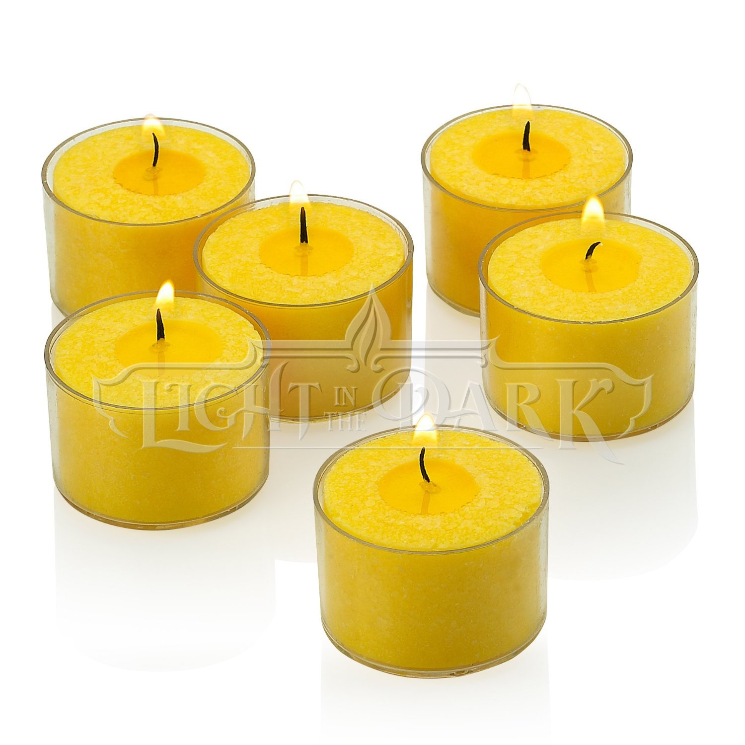 Light In The Dark Set of 36 Yellow Citronella Tealight Candles with Clear Cup Burn 8 Hour - Made from High Scented Citronella to Scare Away Mosquito, Bug and Flies - for Outdoor/Indoor Use by Light In The Dark (Image #1)