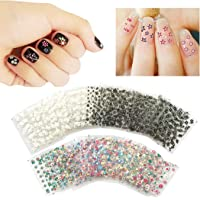 50 x Nail Art Stickers Assorted Self Adhesive, Beauties Factory Flowers Butterflies 3D DIY Black White Colorful Patterns…