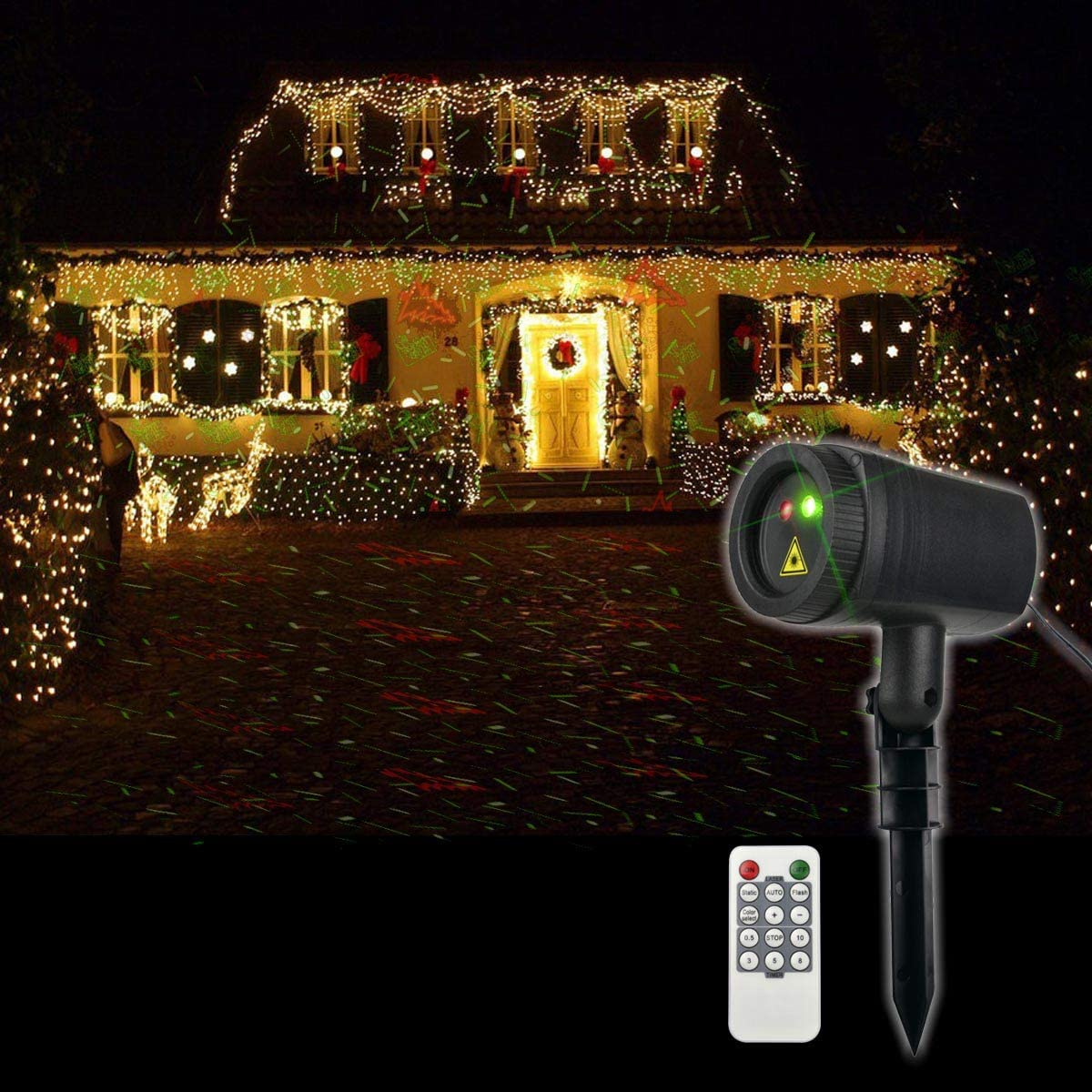 Christmas Laser Lights, 12 Patterns in 1 Laser Light Indoor Outdoor Christmas Laser Light with RF Remote Control for Hassle-Free Holiday Decorating Projector Lights, IP65 Waterproof