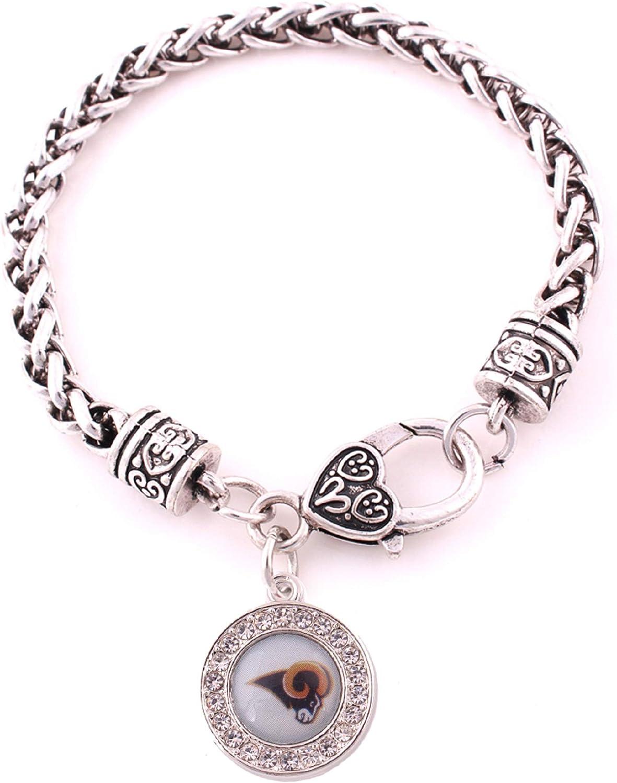 BAS Inc Los Angeles Rams Zinc Alloy Bracelet with Round Rhinestone Charm 7 inch