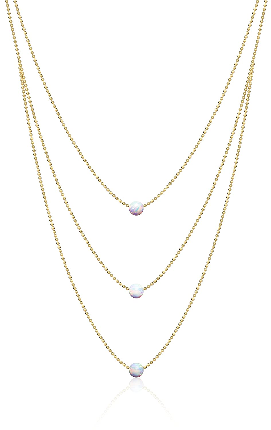 Triple White Opal Necklace  The Inspire 14k gold Ball Chain 3 Tier Pendant Statement Necklace 18 21 24