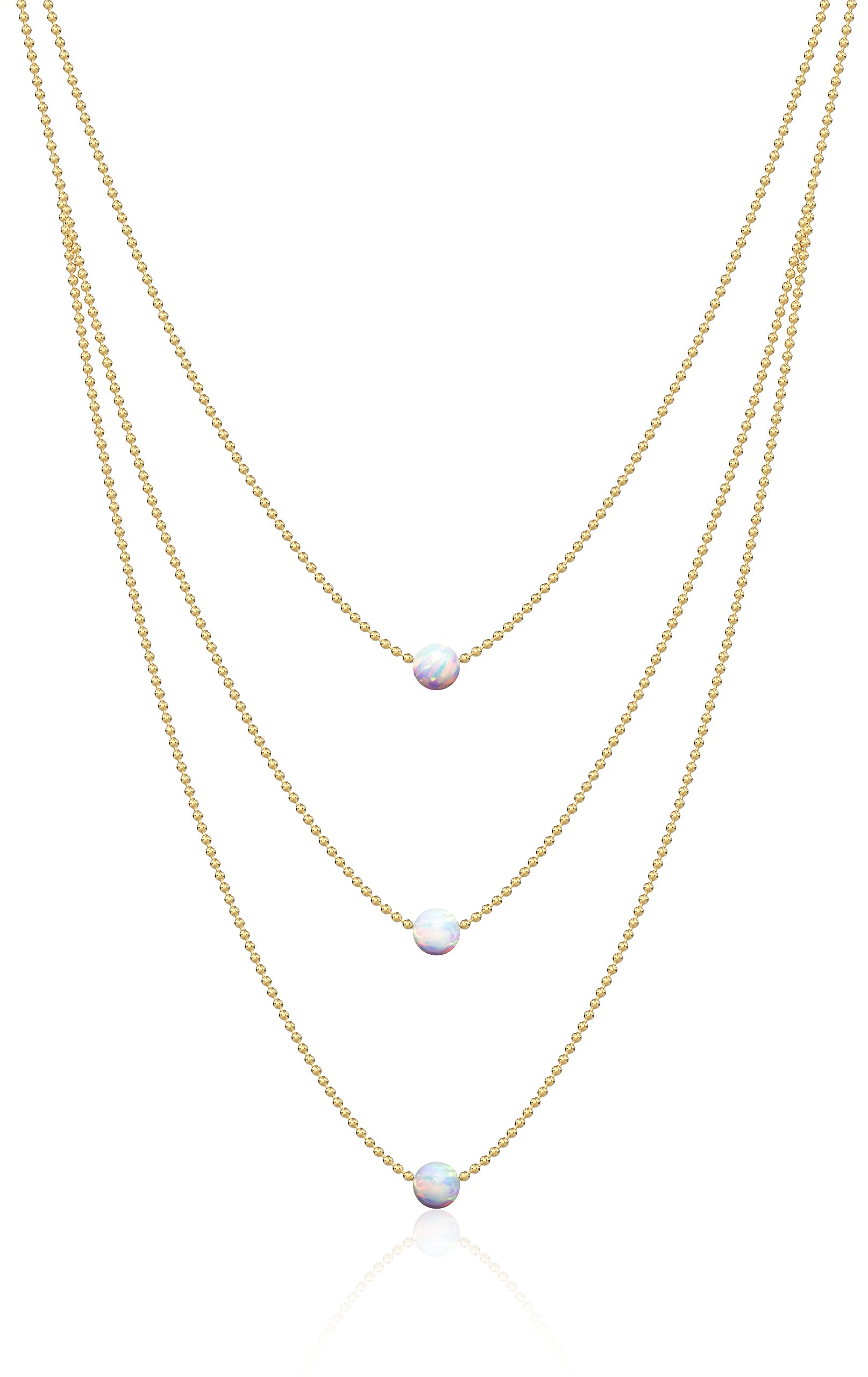 Benevolence LA Opal Necklace Gold Choker: Platinum Sterling Silver White Fire Opal Pendant Necklaces Three tiered 14k Opal 13 Inch Ball Chain (3 Tier Opal)