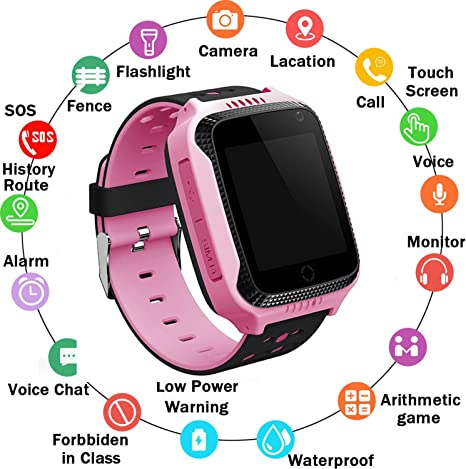 Zqtech Kids Smart Watch GPS Tracker - Nonwaterproof Smartwatches with SOS Voice Chat Camera Math Game Alarm Clock Digital Wrist Watch Smartwatch Girls ...