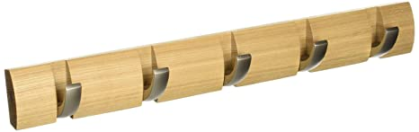 Umbra - Perchero de pared con ganchos extraíbles para varios abrigos, color madera