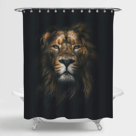 Mitovilla Cool Lion Shower Curtain Set With Hooks Powerful Majestic Lion King Head Bathroom Accessories Wildlife Themed Home Room Decor For Mens Kids Boy And Animal Lover Gifts Black Gold 72