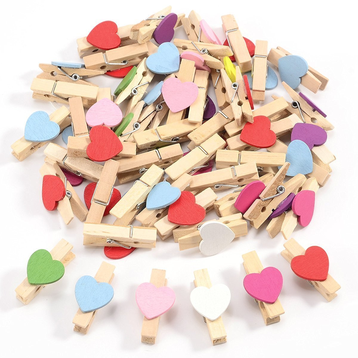 50pcs Mixed Colours Mini Wooden Pegs Decorative Photo Paper Pin Clothespin Craft Clips with 5 Meter Jute Twine RZX
