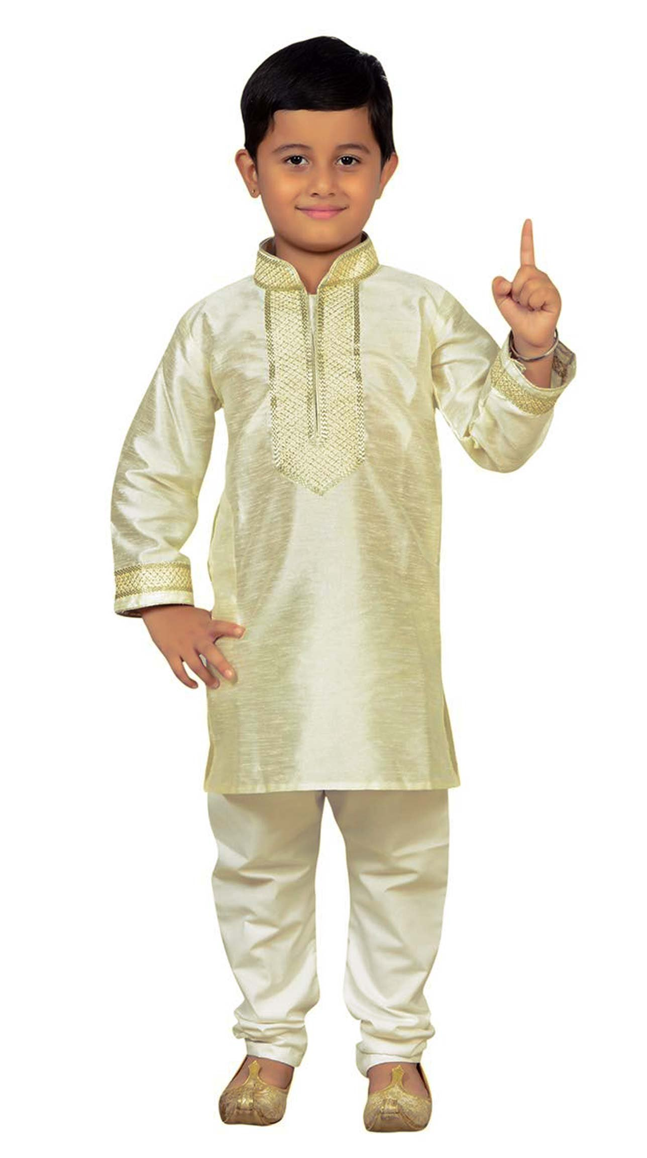 Boys Indian Off White Sherwani Kurta with Churidar pyjama in fine Art Silk for Bollywood theme party Costume 895 (4 (4 yrs), Off White)